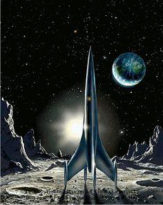 Retro Rocket F&SF. Image Copyright David A. Hardy