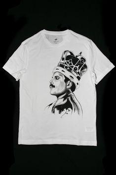 Hand painted T-shirt Mercury Queen Freddie Mercury, Hand Painted, Queen, Mens Tops, T Shirt, Supreme T Shirt, Tee Shirt, Tee