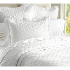 Pottery Barn neutral bedding is woven from organic cotton. Find ivory sheets and other neutral bedding and start the perfect foundation to a well dressed bed. Neutral Bedding, White Bedding, Linen Bedding, Bedding Sets, Bed Linens, Bedding Storage, Textured Bedding, White Coverlet, Coverlet Bedding