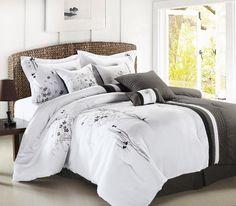 12pc ABQ. Black/White/Gray Luxury Size: King Sheet Set Color: Ivory