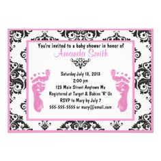 Pink Damask Baby Feet Girl Baby Shower Invitations
