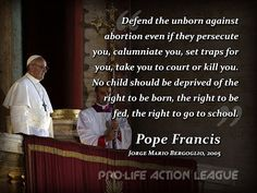 pope francis pro life quotes - Google Search