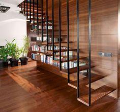 Modern Stair Railing, Stair Railing Design, Home Stairs Design, Staircase Railings, Wooden Staircases, Modern Stairs, Railing Ideas, Steel Railing, Staircase Ideas