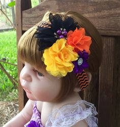 Your place to buy and sell all things handmade Halloween Hair Clips, Halloween Flowers, Halloween Headband, Halloween Bows, Halloween Outfits, Halloween Party, Moldes Halloween, Adornos Halloween, Little Girl Headbands