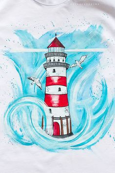 Hand painted Lighthouse Men T-shirt, gift for him, Nautical T-shirt Lighthouse Gifts, Lighthouse Art, Nautical T Shirts, Painted Rocks, Hand Painted, Driftwood Wall Art, Lighthouse Pictures, T Shirt Painting, Graffiti