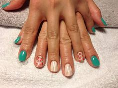 Teal nails floral stripes nails art accent nail gel polish wallpaper  - check me out at ig: nailsgonewild_kv fb: Nails Gone Wild