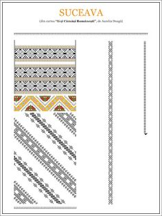 Semne Cusute: model de ie din BUCOVINA, Suceava Embroidery Sampler, Folk Embroidery, Embroidery Patterns, Cross Stitch Patterns, Machine Embroidery, Modern Embroidery, Beading Patterns, Color Patterns, Simple Cross Stitch