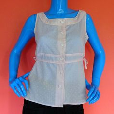 Elevenses Anthropologie Pink Sleeveless Button Front Blouse Top 10 M Swiss Dot #Anthropologie #Blouse #Casual