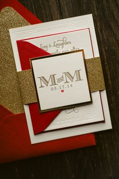 KRISTIN Suite Glitter Package, red and gold, glitter wedding invitation, wedding invitation with heart, elegant wedding invitation, blind press, blind deboss, letterpress wedding invitations
