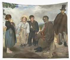 Classic art inspired wall tapestry - The Old Musician 1862 Painting by Edouard Manet