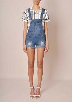 Nur Denim Dungaree Shorts