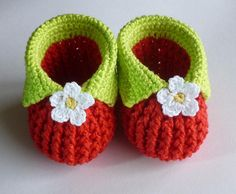 Cute Baby strawberry booties - crochet pattern on LoveCrochet