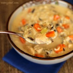 Cream of Chicken Soup with Wild Rice from Scratch #soup #dinner #chicken