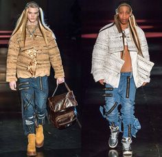 Hood By Air 2014-2015 Fall Autumn Winter Mens Womens Runway Looks - New York Fashion Week Catwalk - Denim Jeans Androgyny Zippers Motorcycle Biker Rider Outerwear Coat Padlock Straps Down Jacket Puffer Crop Top Midriff Extensions Baseball Knit Cargo Pockets Leather Multi-Panel Embossed Suede