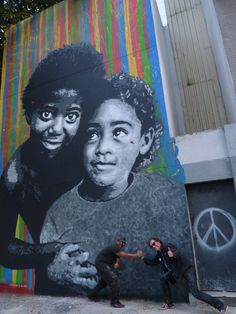 """Jef Aérosol 2014, Rio de Janeiro, mural : """"Favela Smile"""" (from a photo by Gile Smith)."""