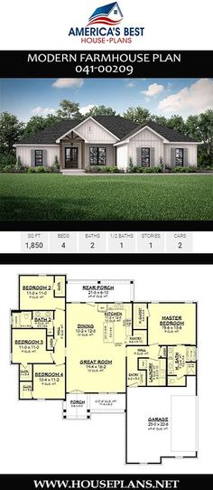 Modern Farmhouse Plan Get to know Plan a single-story, sq. Modern Farmhouse design with 4 bedrooms, 2 bathrooms, an open floor. Floor Plan 4 Bedroom, 4 Bedroom House Plans, Basement House Plans, Craftsman House Plans, 4 Bedroom House Designs, Craftsman Style, House Plans One Story, New House Plans, Dream House Plans