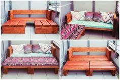 Great DIY idea for balcony furniture: either corner sofa or large lounge sofa, depending on . - Great DIY idea for balcony furniture: Either corner sofa or large lounge sofa, depending on what yo - Diy Furniture Easy, Pallet Furniture, Furniture Ideas, Barbie Furniture, Modern Furniture, Furniture Cleaning, Outdoor Furniture, Furniture Design, Pallet Sofa