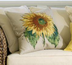 "Pottery Barn Sunflower Pillow | Pottery Barn Sunflower Linen Pillow Cover 20"" Nwts Auction Online ..."