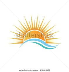 Sunshine logo over water waves. Vector design