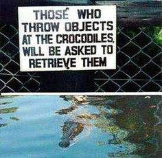 Hilarous!  Susan needs this for the gator pond in their back yard!!! true!