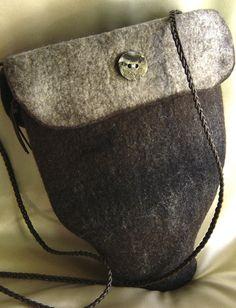 Dark brown wool/silk  Half Pear-shaped felted bag
