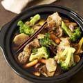 Redsauce pork and veggies