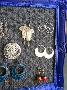 Keep your jewelry organized and beautifully displayed with this knitted frame.#free_pattern