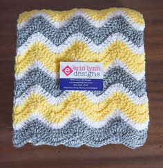 Sunshine Yellow Gray and White Chevron Baby Afghan on Etsy, $45.00