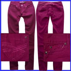 Aeropostale Dk Pink Straight Slim Smooth Bayla Jeans Pants Womens Size 3/4 29,30