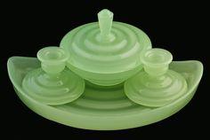 FRENCH GREEN OPALINE GLASS