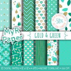 """#Gold #glitter green digital paper: """"GOLD & GREEN"""" green and gold glitter pack of backgrounds with chevron, polka dots, stripes, hearts  50% OFF ON ORDERS OVER 12 $ (OR NEARL... #patterns #design #graphic #digitalpaper #scrapbooking #gold #teal #sparkling #golden"""