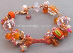 Hot Pink and Orange Copper Dog Bone Lampwork Bracelet
