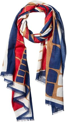 MIR Women's Patterned Scarf,Red/White/Blue