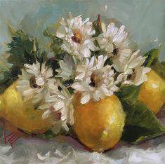 "Daily Paintworks - ""Lemons & Daisies"" - Original Fine Art for Sale - © Krista Eaton"