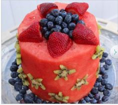 Fruit Tower Birthday Cake Video Healthy birthday cakes Healthy