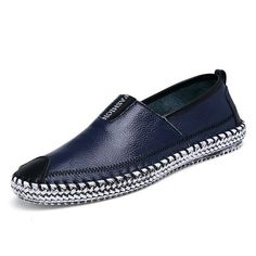 Big Size Men Toe Protecting Letter Slip On Leather Flat Weave Shoes