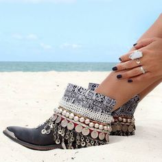 Black Embellished Tribal Boho Cowgirl Booties- love!!!