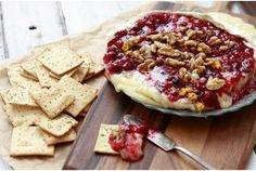 Baked brie with cranberry sauce & walnuts...