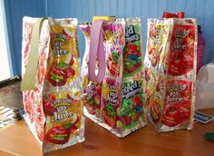 DIY Recycled Juice Pouch Lunch Bag | Perfect for back to school, check out how simple it is to make these adorable recycled juice pouch lunch bags. - Foodista.com