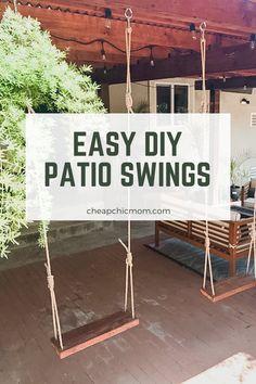 Backyard Patio Designs, Backyard Projects, Diy Patio, Wooden Patios, Wooden Steps Outdoor, Outdoor Swing Seat, Br House, Diy Swing, Backyard Swings
