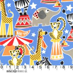 Michael Miller House Designer - Circus Party - Big Top in Blue