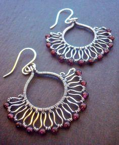 Garnet Fan earrings with Sterling and Fine silver by Weaversfield