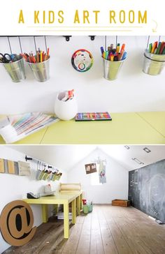 an art room for kids! kids art room inspired to share 1 – Kids Art Space, Kids Room Art, Kids Bedroom, Art For Kids, Kid Art, Guy Bedroom, Kids Artwork, Casa Kids, Toy Rooms