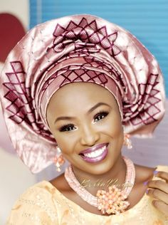 Biege Iro and Buba lace with Pink/Gold Aso-Oke Gele with pink jewelry Nigerian Yoruba wedding