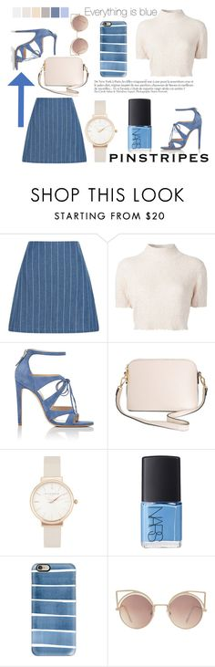 """Cream and blue pinstripes"" by missmodel13 ❤ liked on Polyvore featuring New Look, Rachel Comey, Chloe Gosselin, Humble Chic, Olivia Burton, NARS Cosmetics, Anja, Casetify, Seed Design and MANGO"