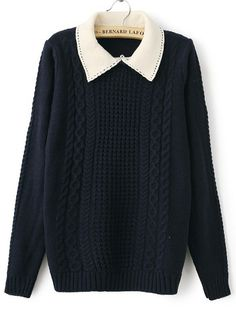 Navy Contrast Lapel Long Sleeve Cable Knit Sweater - Sheinside.com
