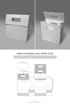 Diecut handle Bag with Flap - Packaging & Dielines: The Designer's Book of Packaging Dielines