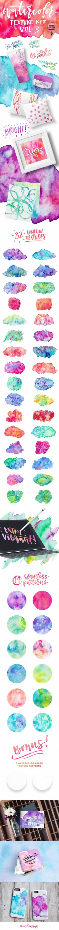 Watercolor Texture Kit Vol. 3 by everytuesday on @creativemarket