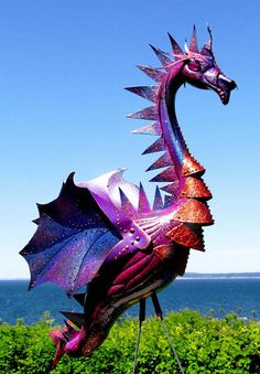 Deep Purple Dragon flamingo - handmade, garden art sculpture created from a recycled plastic flamingo. -- I need some pink flamingoes. Dragon Dreaming, Dragons, Dragon Art, Dragon Garden, Recycled Art, Outdoor Art, Sculpture Art, Garden Sculptures, Garden Statues