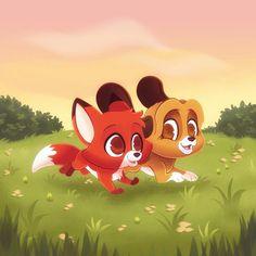 Disney Films, Disney And Dreamworks, Disney Cartoons, Arte Disney, Disney Fan Art, Cute Animal Drawings, Cute Drawings, Cute Disney Pictures, Kawaii Disney